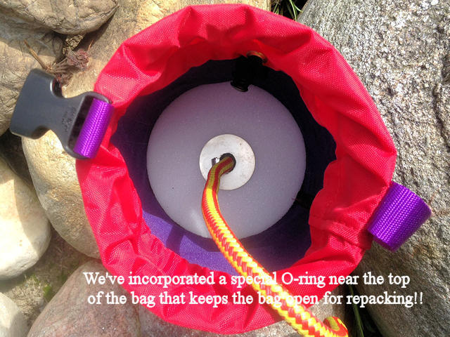 We've incorporated a special O-ring near the top of the bag that keeps the bag open for repacking!!